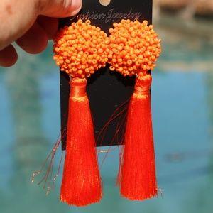New! Large Orange Boho Earrings Post Drop Tassels